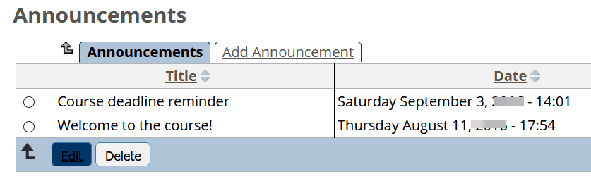 Example of announcements in the Talance LMS